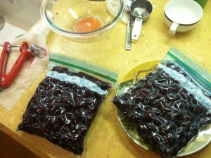 2 quarts of cherries, pitted (yes, I consider this a reward!)