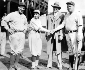 Jackie with Lou Gehrig and Babe Ruth (Source: LOC)